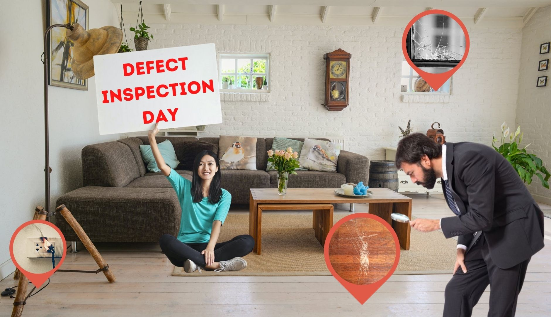 It is Inspection Day and purchaser needs to look carefully for all defects to make a good Property Defect Management!!