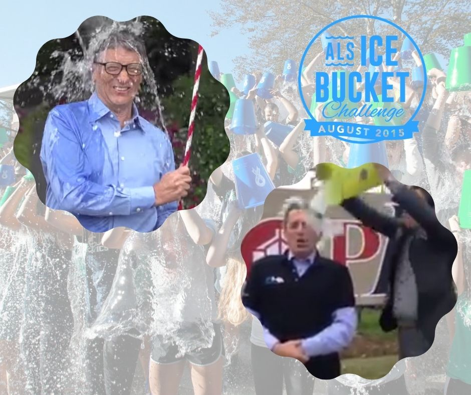 Giving donations by participating to the ice bucket challenge