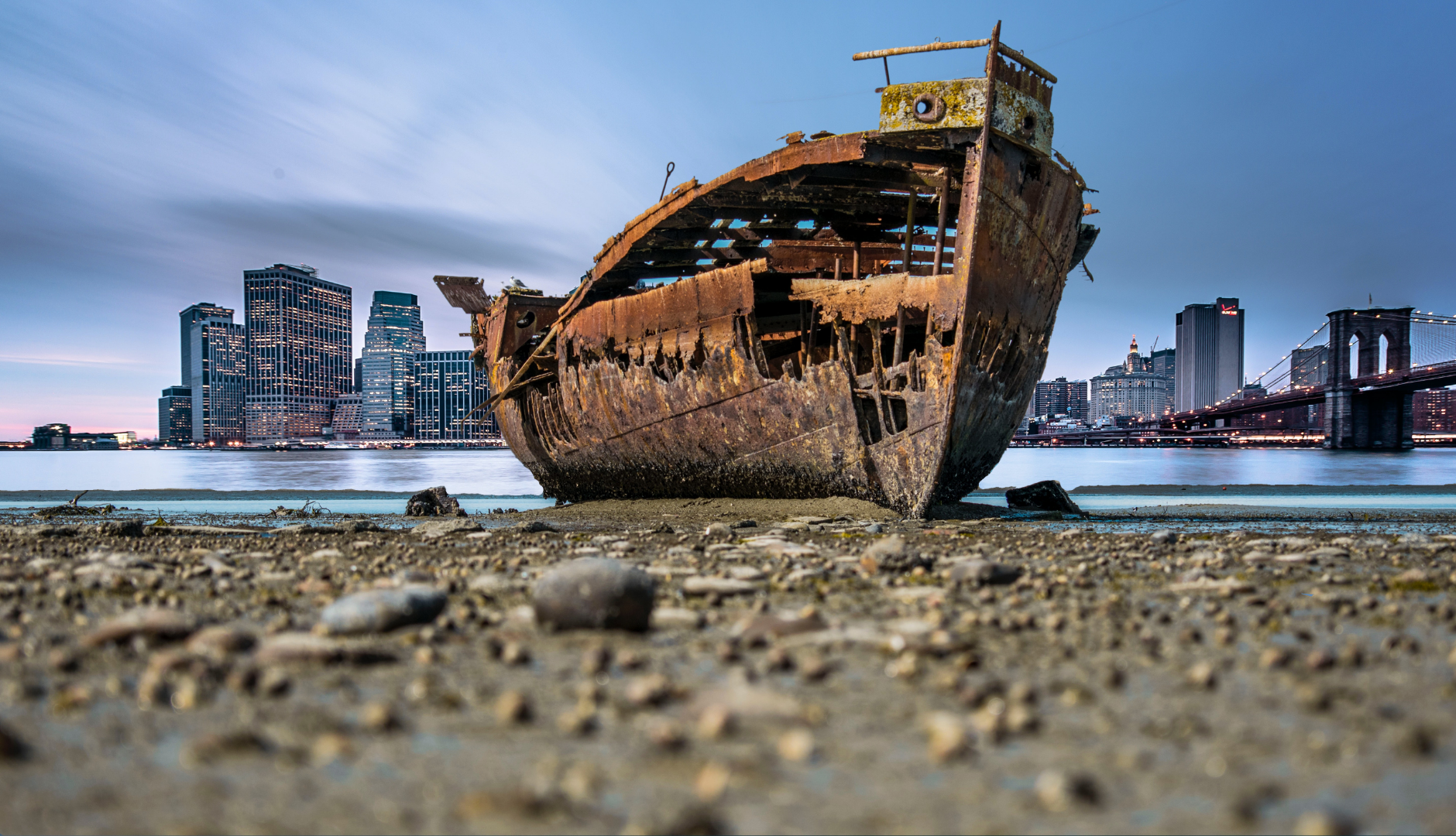 A ship wreck on the shore in front of a big city is symbolising the damages from the pandemic to property values and life style but also showing life coming back after the storm. The city's lights are on!